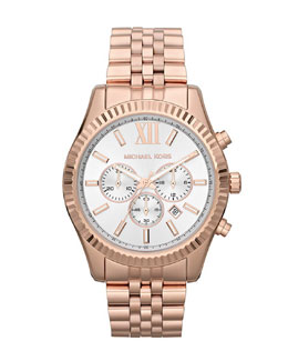 Michael Kors  Oversize Rose Golden Stainless Steel Lexington Three-Hand Watch
