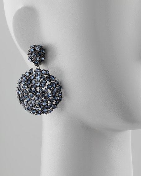 Nova Sphere Crystal Clip Earrings, Midnight