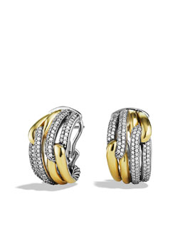 David Yurman Labyrinth Double-Loop Earrings with Diamonds and Gold