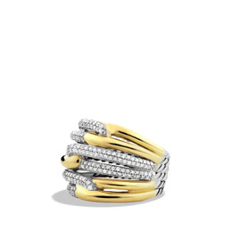 David Yurman Labyrinth Triple-Loop Ring with Diamonds