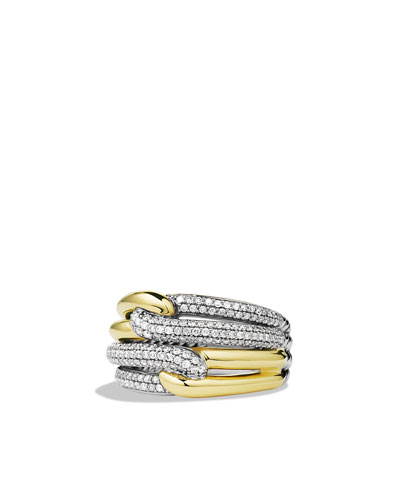 David Yurman Labyrinth Double-Loop Ring with Diamonds and Gold