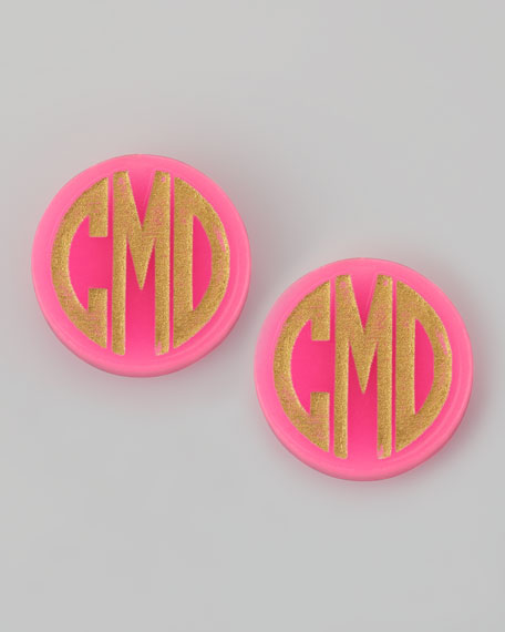 Hartford Monogrammed Acrylic Stud Earrings