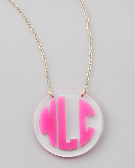 Cannes Monogrammed Acrylic Two-Tone Chain Necklace