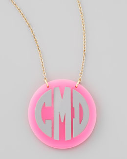 Moon and Lola Cannes Monogrammed Acrylic Two-Tone Chain Necklace, Pink