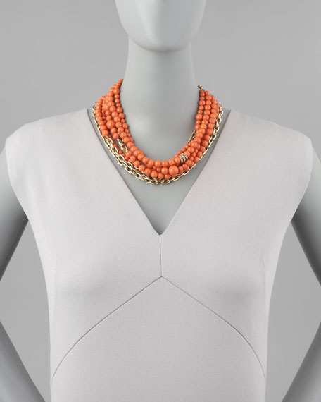 Julie 7-Strand Howlite Beaded Necklace, Coral