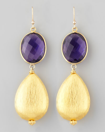 Amethyst & 18k Vermeil Drop Earrings