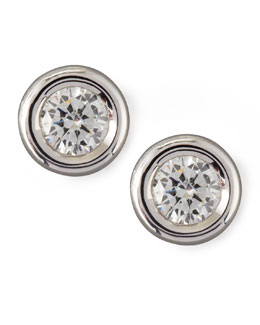 Roberto Coin 18k White Gold Diamond Solitaire Stud Earrings