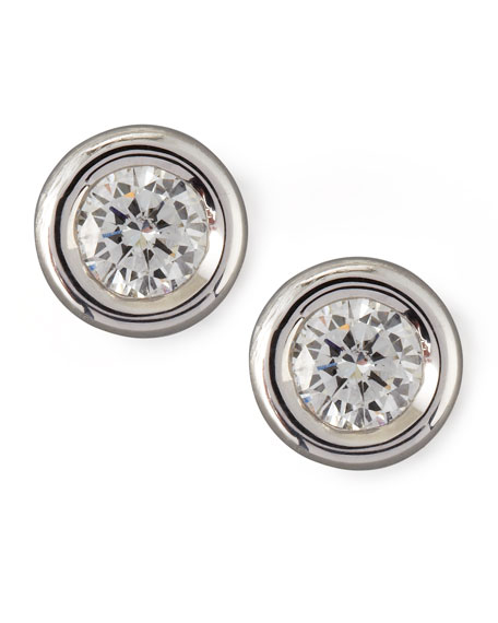18k Gold Diamond Solitaire Stud Earrings