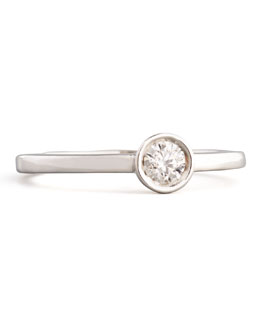 Roberto Coin 18k White Gold Diamond Solitaire Station Ring