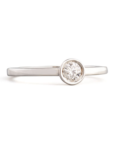 18k White Gold Diamond Solitaire Station Ring