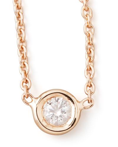 18k Rose Gold Single Diamond Necklace