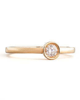 Roberto Coin 18k Rose Gold Diamond Solitaire Station Ring