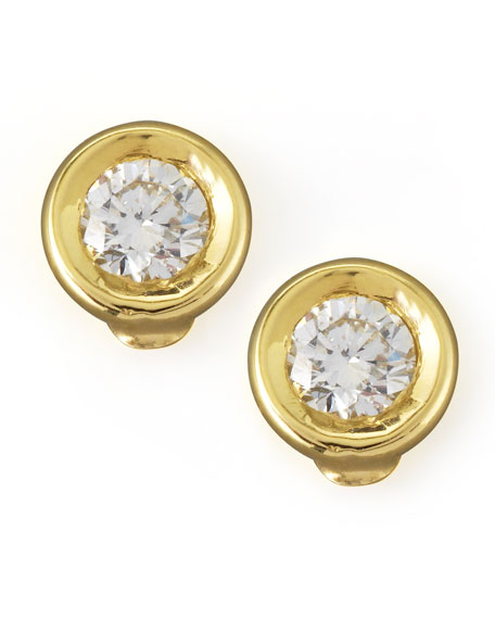 18k Yellow Gold Diamond Solitaire Stud Earrings