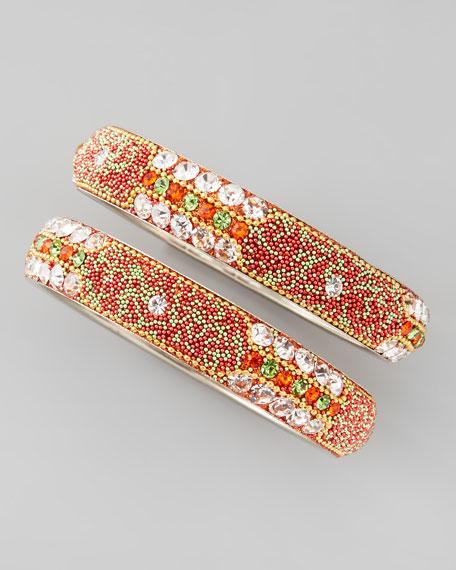 Set of 2 Bead-Filled Crystal Bangles, Orange