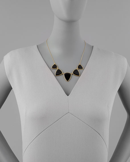 Reversible Golden/Black Onyx Geometric Necklace