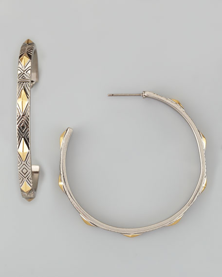 Engraved Marquis-Stud Hoop Earrings