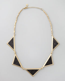 House of Harlow Snake-Embossed Station Collar Necklace