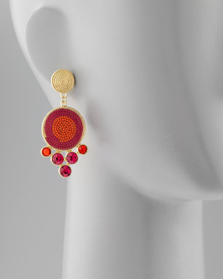 Swirl-Disc Beaded Crystal Drop Earrings
