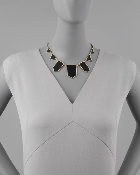 Geometric Leather-Inlay Station Necklace, Black