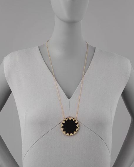 Sunburst Pendant Necklace, Black