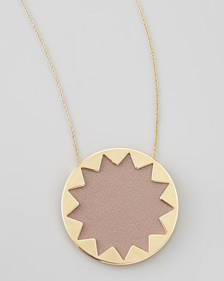 Sunburst Pendant Necklace, Khaki