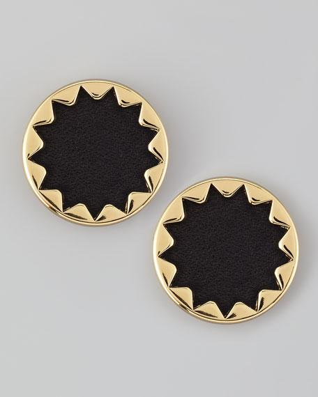 Sunburst Button Stud Earrings, Black
