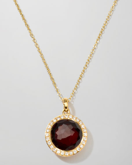 Rock Candy 18k Gold Mini Lollipop Necklace in Garnet & Diamond