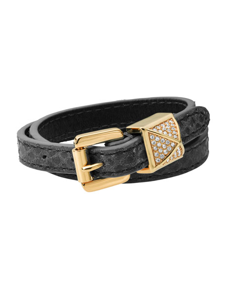 Python-Embossed Wrap Bracelet, Black/Golden
