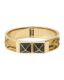 Michael Kors  Crystallized Python-Embossed Bangle, Black/Golden