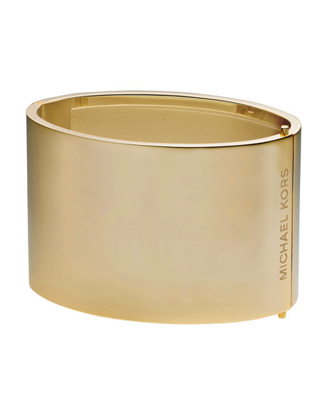 Wide Engraved Bangle, Golden