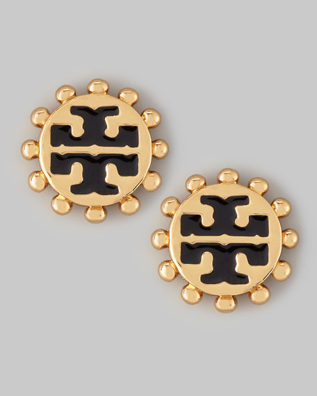 Winslow Enamel T-Logo Stud Earrings, Black