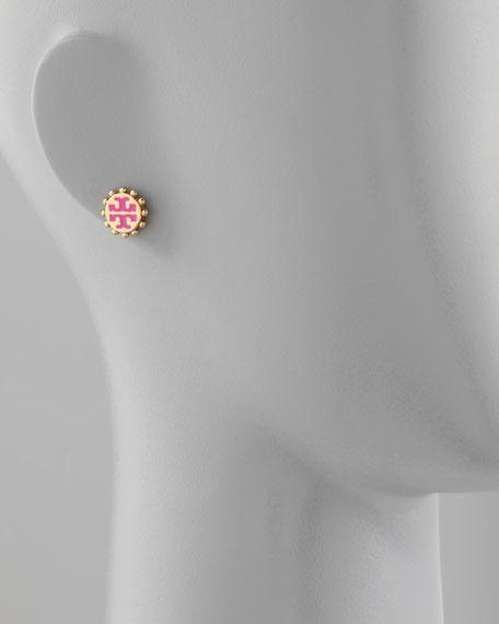 Winslow Enamel T-Logo Stud Earrings, Pink