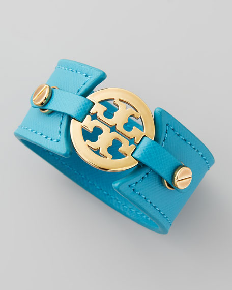 Skinny Logo Double-Snap Cuff, Blue