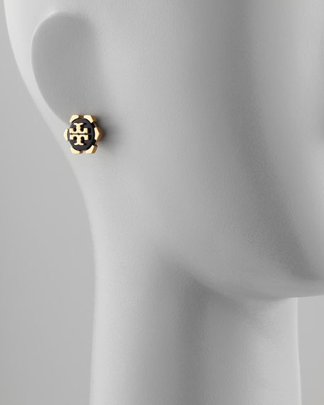 Walter Logo Stud Earrings, Black