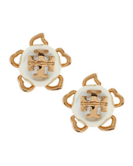 Tory Burch Golden/White Emma Pearlescent Stud Earrings