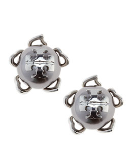 Tory Burch Silvertone/Gray Emma Pearlescent Stud Earrings