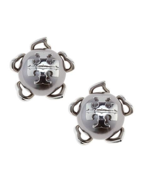 Silvertone/Gray Emma Pearlescent Stud Earrings
