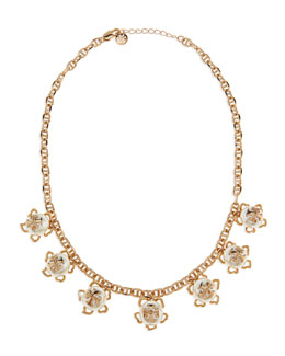 "Tory Burch Golden/White Pearlescent Logo Necklace, 20""L"