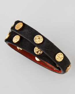 Tory Burch Logo-Studded Calf Hair Wrap Bracelet, Black