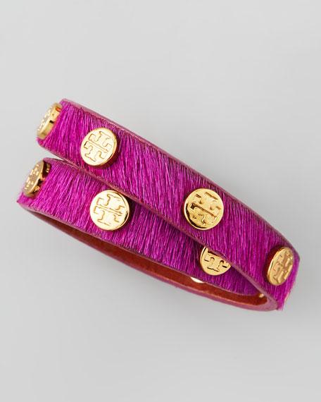 Logo-Studded Calf Hair Wrap Bracelet, Fuchsia