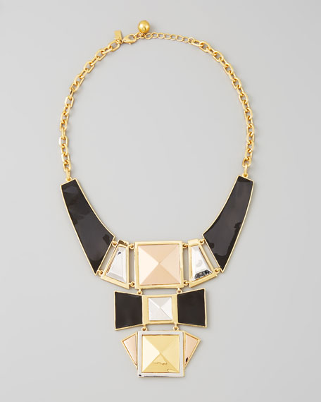 mixed metal plate statement necklace