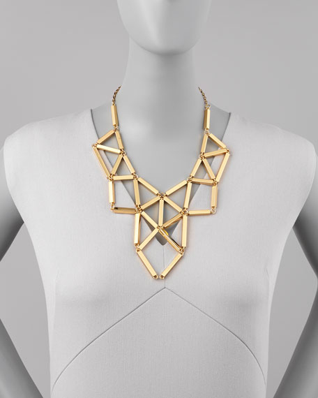 geometric golden statement necklace