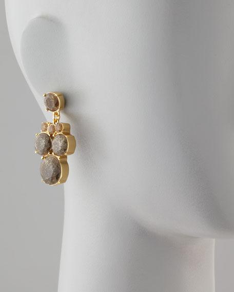 glitter chandelier earrings, smoke/gold
