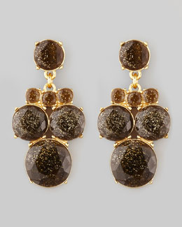 kate spade new york glitter chandelier earrings, smoke/gold