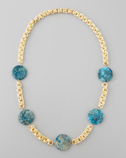 Devon Leigh Feldspar Coin Necklace, Blue