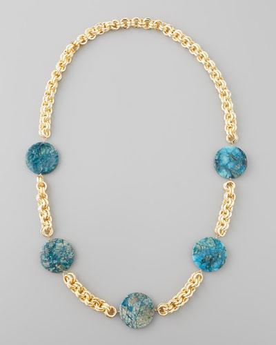 Feldspar Coin Necklace, Blue