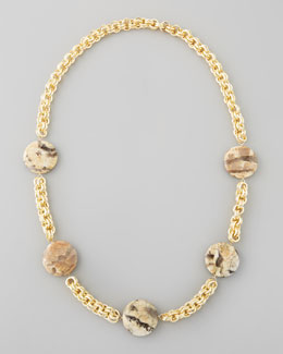 Devon Leigh Animal-Spotted Coin Necklace, Brown/Multi