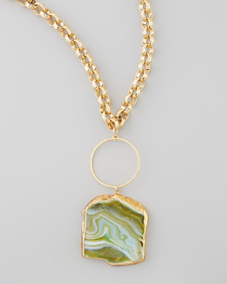 "Hammered Agate Pendant Necklace, 33""L"