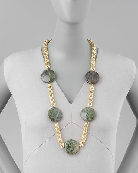 Turpan Jade Coin Necklace, Green