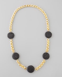 Devon Leigh Lava Coin Necklace, Black